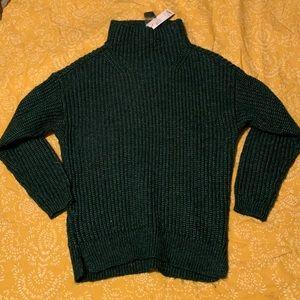 Emerald green turtleneck sweater